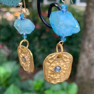 Roman 14k gf Aquamarine Crystal Quartz earrings